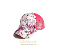 2015 new Hawaii flower floral printed summer outdoor baseball cap for kids baby girl lady
