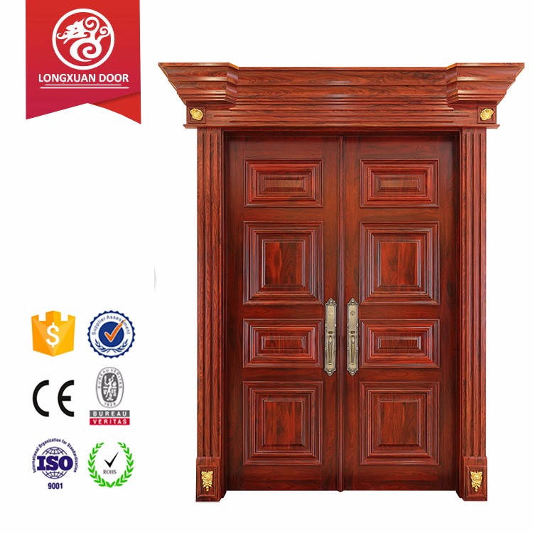 Wood furniture modern design with mold flower entrance double doors for apartment