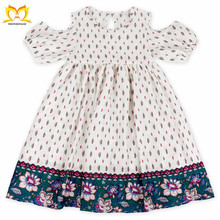 Summer Baby Girls Trendy Cold Shoulder Design Cotton Yarn Frock Wholesale Children's Boutique Kids Dresses