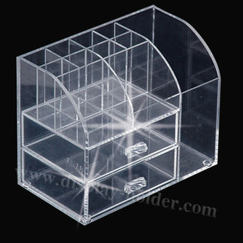 Clear crystal acrylic makeup organizer with drawer
