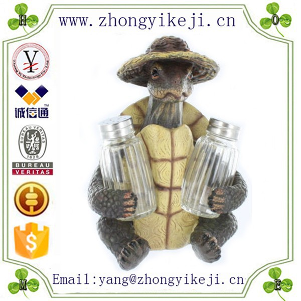 2015 chinese factory custom made handmade carved hot new products resin tortoise figurines of Salt and Pepper Bottle Holder