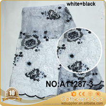 black and white flower beaded sequined tulle french lace fabric wholesale