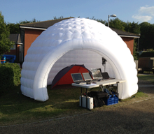 LED lighting inflatable igloo dome for trade stand, photo booth or even as a chill out tent at a party.