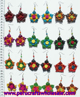 Flower earrings of different colors, made of leather, wholesale handmade jewelry
