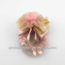 Pink color hair decorative bow with net