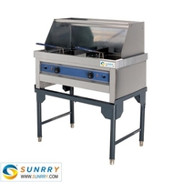 Standing cooking chicken home fryer 2 tank 2 basket stainless steel food fryer (SY-FF221 SUNRRY)