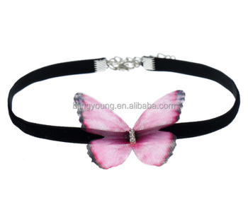 Wholesale black volvet choker multicolor butterfly necklace jewelry