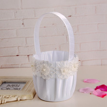 Embroidery satin decoration white bridal party wedding flower girl basket