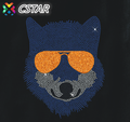A Cool Bear Wearing Glass Heat Transfer Hot Fix Crystal Rinstone for T-shirt Design