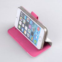 Stylish Book Case B2CK for Apple iPhone 5S (Pink/ White Cross Pattern) with screen protector