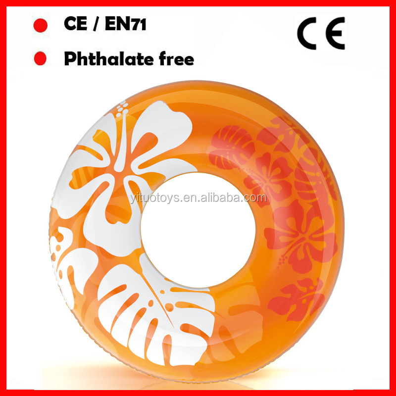 OEM 120CM tranparent orange swimming ring for adults with custom printing and design