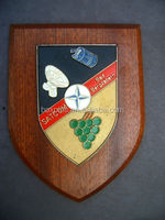 Wood Wall Shield Plaque. Satcom Bad Bergzabern Made in China