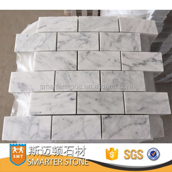 Good-looking Mosaic Tile,White subway tile and carrara mosaic tile