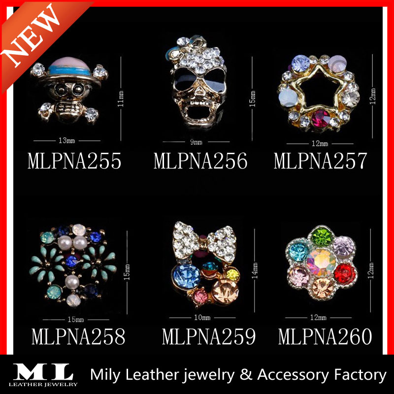 2014 New style fashionable 3D decorative accessories skull designs nail art stickers MLPNA255-260