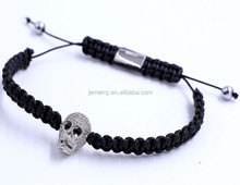 Handmade Designer Macrame String with Diamonds Skull Charms Bracelet Knotted Adjustable Stretch Bracelet