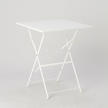 White Painted Metal Square Bistro Table