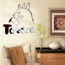 Acrylic Mirror Totoro Home Decoration DIY Art Sticker Wall Decals for Bedroom Living Room