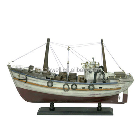 Rustic Wooden Fishing Boat Model, Antique Souvenir Nautical Gifts Decoration Handicrafts, Decorative Boat Boat Model