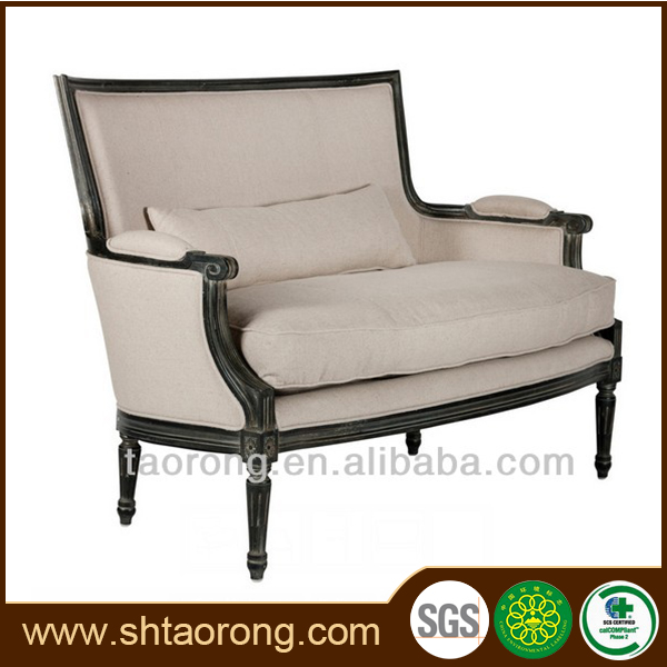 Factory direct Italian style hotel wooden antique lounge sofa