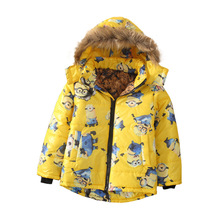 Wholesale Kid Boys Minion Jacket Kids Down Jacket Winter Warm Down Coat Children Boys Hooded Coat
