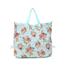 Nice flower printed cotton cheap ladies handbags factory