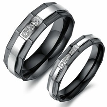Marlary Cheapest Price!!! Bulk Sale Couples Black 316L Stainless Steel Titanium Zircon Ring