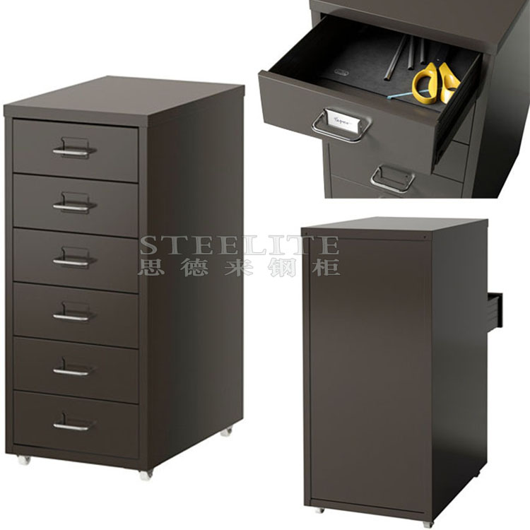 Under Desk Black Color Helmer Mobile 6 Tier Thin Six Drawers Iron Cabinet  Korean Popular Tall Slim 6 Layers Chest Of Drawers