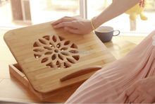Natural Bamboo folding laptop table with USB fan