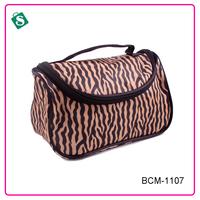 Fashion satin zebra-stripe lady's cosmetic bags