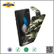 Durable Camouflage Pattern PU Leather Flipstyle Case For Huawei P8 Lite, PU Flip Leather Case For P8 Mini