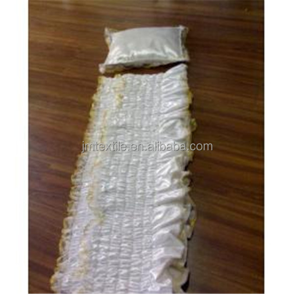 White satin fabric coffin lining with gold lace for coffin