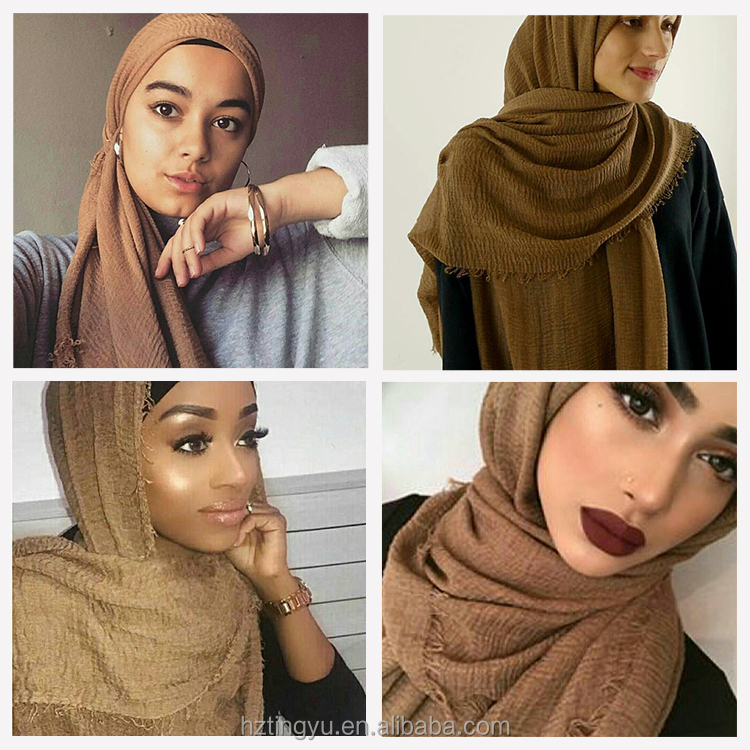 High quality Wholesale maxi muslim scarf shawl bubble cotton crinkle hijab