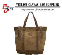 Camel / Brown Canvas Tote Bag/Tote bag with Leather Trim/Canvas Handbag