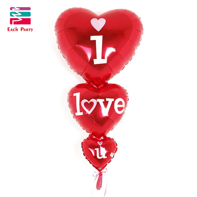 Wedding party decorations Romantic heart balloons siamesed i love you foil balloons married helium inflatable air balls supplies
