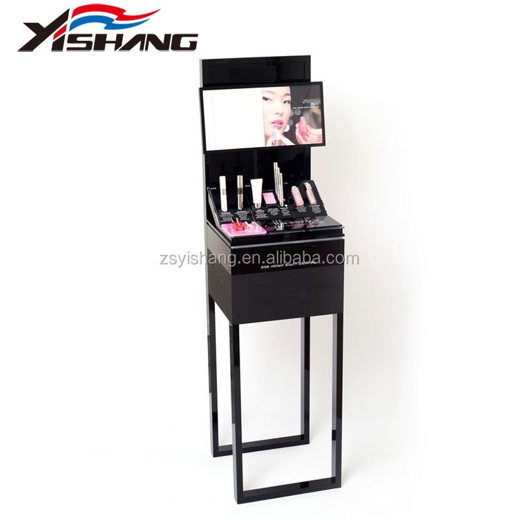 Brand counter display cabinet lipstick display stand with mirror and graphic pictures