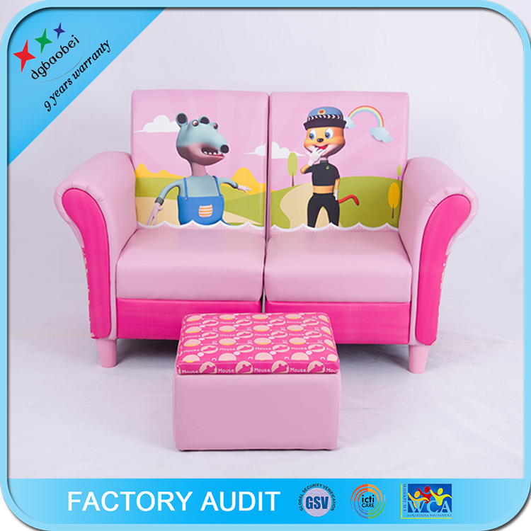 pink leather two seat sofa for kids