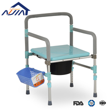 Carbon steel, stainless steel, aluminum portable folding steel frame toilet seat plastic commode chair for disabled