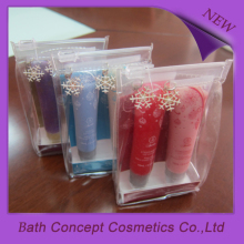 Coloridos anti cracking lip gloss pvc conjunto