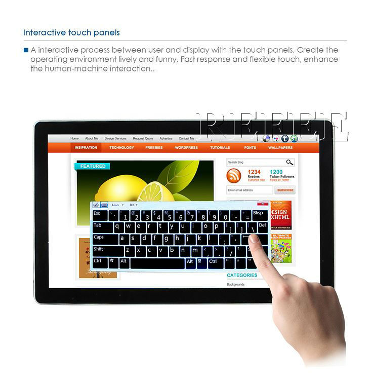 15.6''to 65''touch screen advertising display,touch screen lcd digitizer monitor