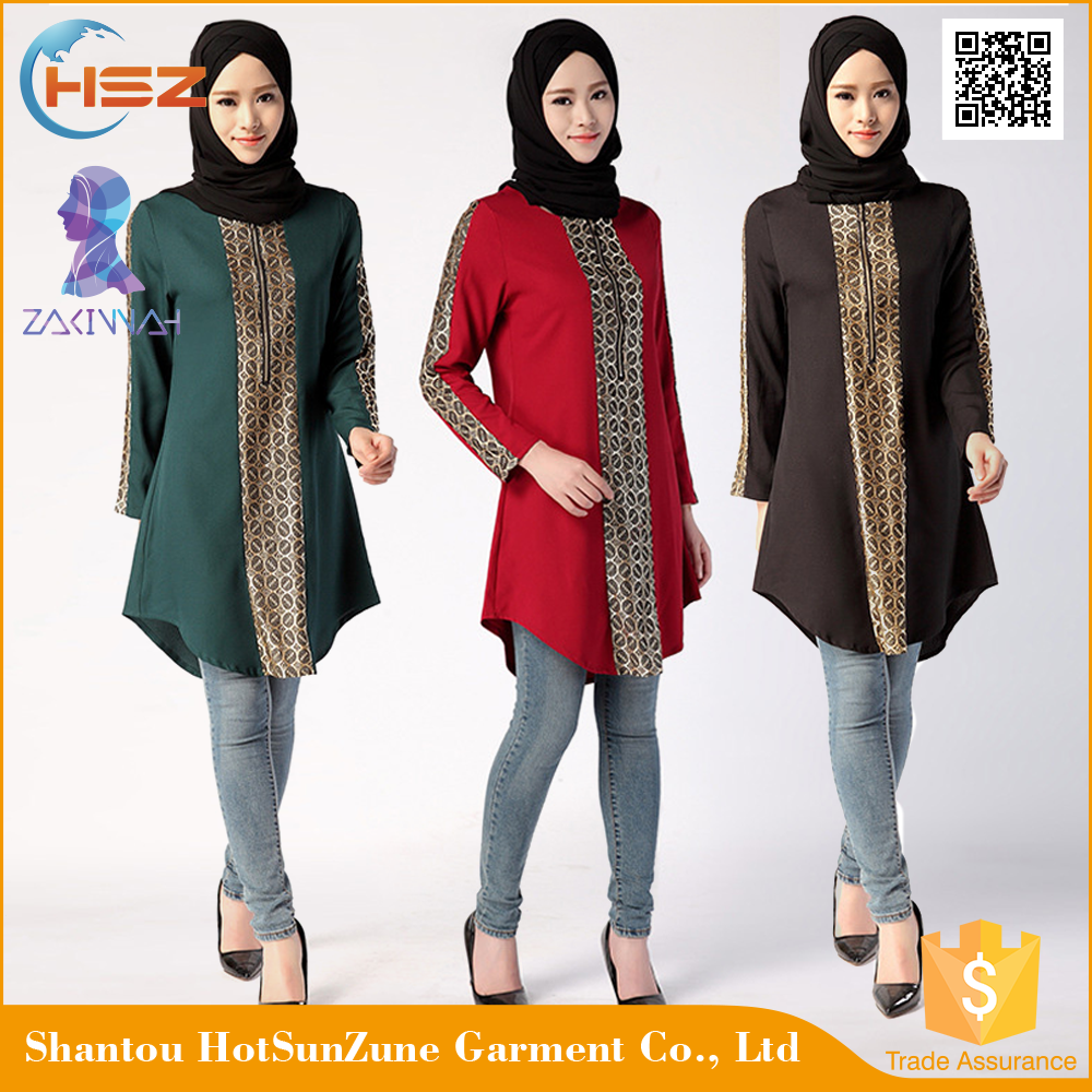 Zakiyyah 677 Wholesale Shirt Muslim Dresses For Women Fashion Malaysia Baju With Hemp Arab Dubai Hijab Design