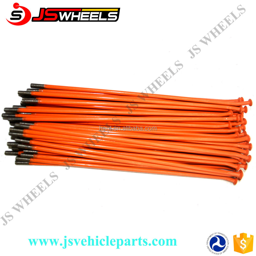 Orange CNC stainless steel spokes and nipples for KTM 85 125 250 off road motorcycle