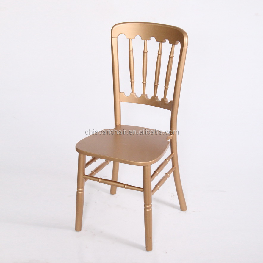 Wholesale Solid Wood Gold Color Commercial Hotel Furniture Camelot Dining Chair