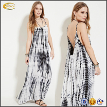 Ecoach Wholesale OEM 2016 Bohemia clothing women cami straps crisscross straps in back Boho Tie Dye print Maxi Dress for summer