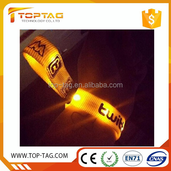 Custom Light Up Sound / Radio / Motion Activated Rfid Control Flash Led Wristband