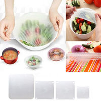 4PCS Food Fresh Keep Silicone Wraps Seal Cover Stretch Cling Film