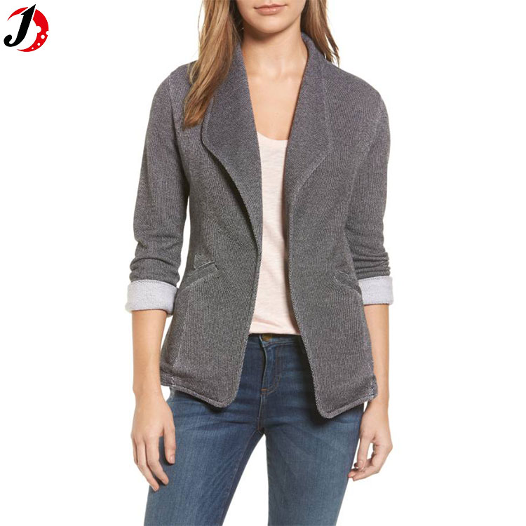 Alibaba High quality jackets women 2017 winter casual knit blazer coat with open-front styling