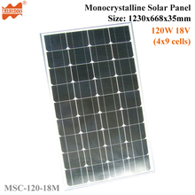 120W 18V 36cells High Quality Monoycrystalline Tempered Glass Solar Panel with Size 1230x668x35mm