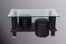 new design ! modern Cheap glass top coffee table with 2 stools