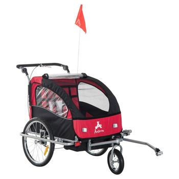 3in1 Double Baby Child Bike Trailer, Stroller & Jogger - Red / White