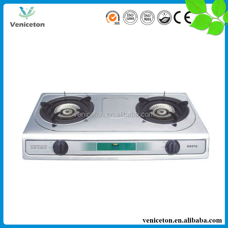 Veniceton China Double Burner Tabletop Biogas Cooker/Gas Stove with Low Price